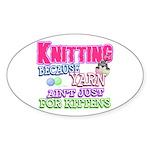 Knitting Kitten Oval Sticker