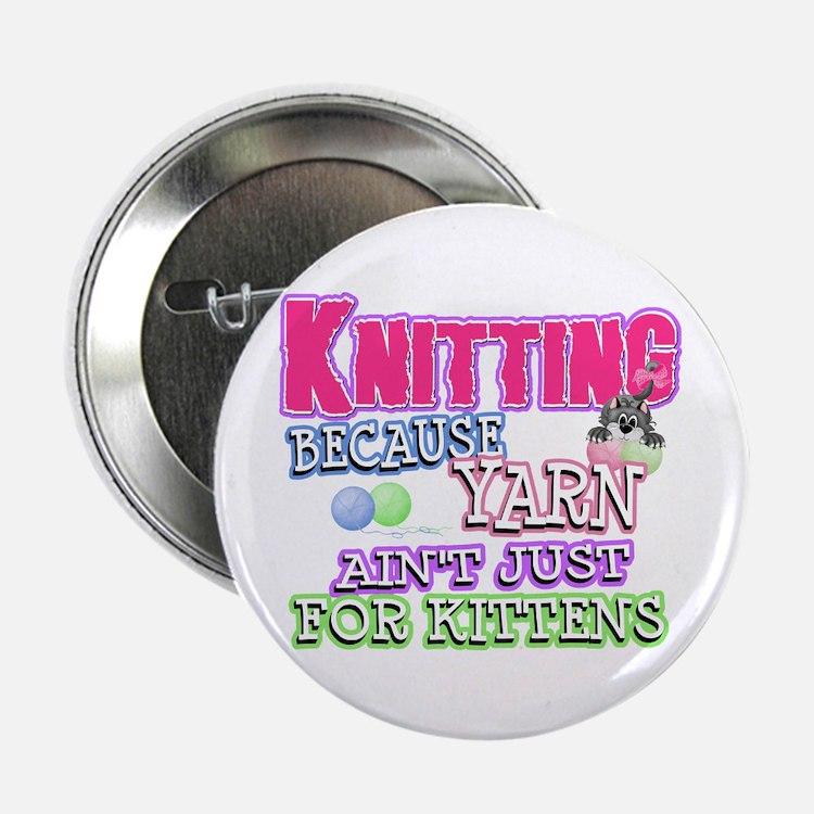 "Knitting Kitten 2.25"" Button"