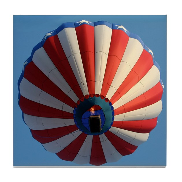 Usa Flag Hot Air Balloon Tile Coaster By Getaphoto
