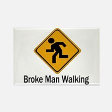 Broke Man Walking Rectangle Magnet