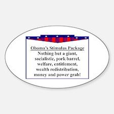 """Obama's Stimulus Plan"" Oval Decal"