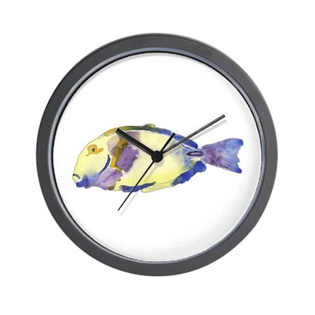 Yellow blue fish wall clock by ginyhogan for Fish wall clock
