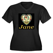 Jane Women's Plus Size V-Neck Dark T-Shirt