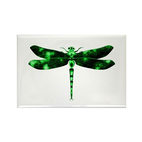 Green Dragonfly Rectangle Magnet (10 pack)
