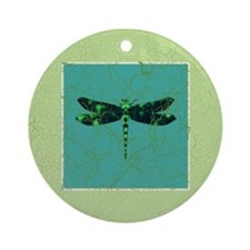 Green Dragonfly Ornament (Round)