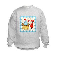 Fourth Birthday Monkey Sweatshirt