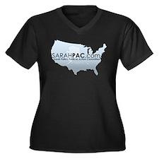 SarahPAC Women's Plus Size V-Neck Dark T-Shirt