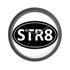 STR8 Black Euro Oval Wall Clock