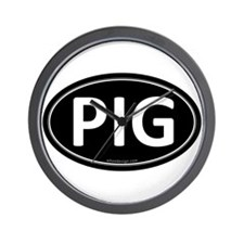 PIG Black Euro Oval Wall Clock