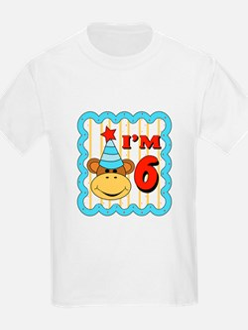 Sixth Birthday Monkey T-Shirt