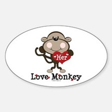 Her Love Monkey Valentine Oval Decal