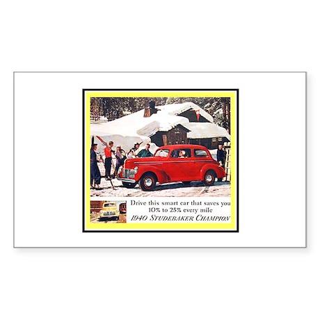 """1940 Studebaker Ad"" Rectangle Sticker"