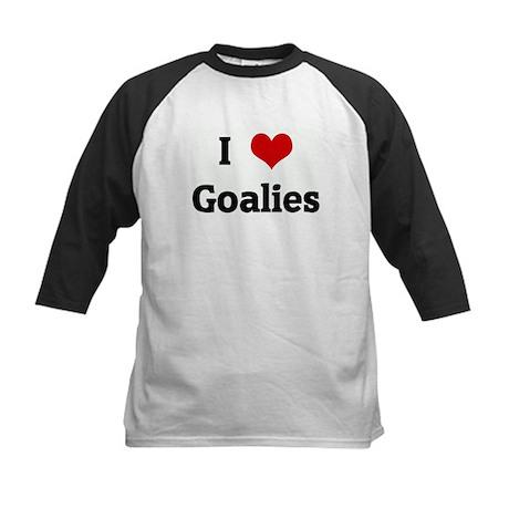 I Love Goalies Kids Baseball Jersey