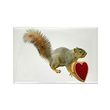 Squirrel with Candy Box Rectangle Magnet