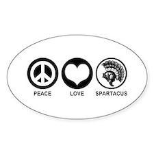 Peace Love Spartacus Oval Decal
