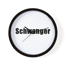 Pregnant in German. Schwanger Wall Clock
