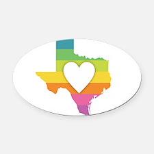 Texas Rainbow Heart Oval Car Magnet
