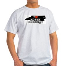 I Love North Carolina Ash Grey T-Shirt