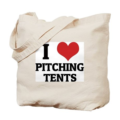 I Love Pitching Tents Tote Bag