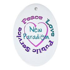 Peace Love Service Oval Ornament