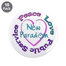 "Peace Love Service 3.5"" Button (10 pack)"