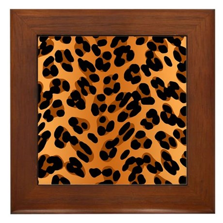 Leopard Print Motif Framed Tile