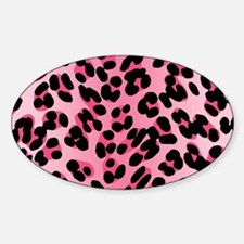 Pink Leopard Print Motif Oval Decal