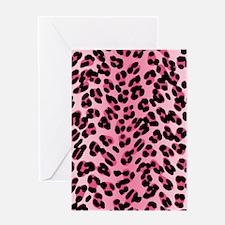 Pink Leopard Print Motif Greeting Card