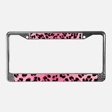 Pink Leopard Print Motif License Plate Frame