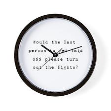 Layoffs Bad Economy Humor Wall Clock