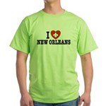 I Love New Orleans Green T-Shirt