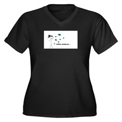 Ninja Bubbles Women's Plus Size V-Neck Dark T-Shir