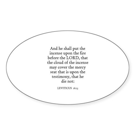 LEVITICUS 16:13 Oval Sticker