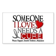 Needs A Cure JUVENILE DIABETES Rectangle Decal