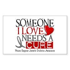 Needs A Cure JUVENILE DIABETES Rectangle Decal
