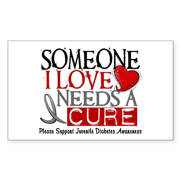 Needs a cure juvenile diabetes rectangle decal by greyribbon for Stickers juveniles