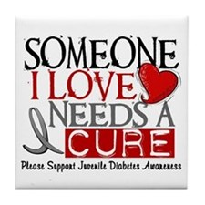 Needs A Cure JUVENILE DIABETES Tile Coaster