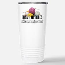 Knitting Needles Travel Mug