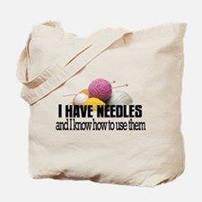 Knitting Needles Tote Bag