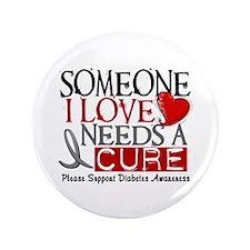 """Needs A Cure DIABETES 3.5"""" Button"""