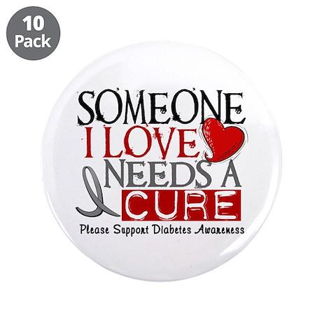 "Needs A Cure DIABETES 3.5"" Button (10 pack)"