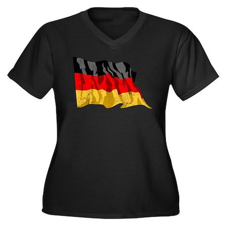 Germany Women's Plus Size V-Neck Dark T-Shirt