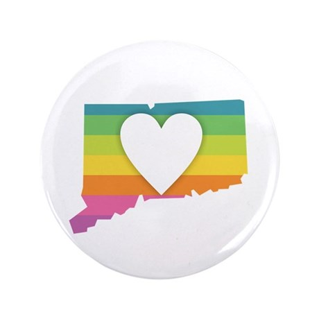 Connecticut Rainbow Heart Button