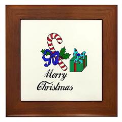 MERRY CHRISTMAS CANDYCANE LOOK Framed Tile