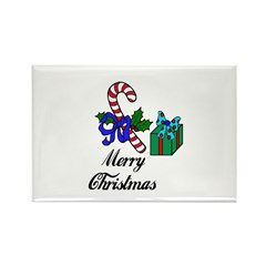 MERRY CHRISTMAS CANDYCANE LOOK Rectangle Magnet