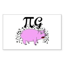 Funny Pig Pi Rectangle Decal