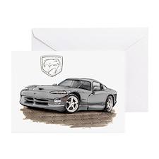 Viper Silver Car Greeting Cards (Pk of 10)