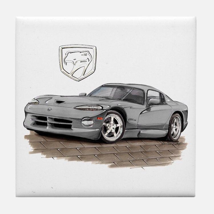 Viper Silver Car Tile Coaster