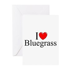 """""""I Love (Heart) Bluegrass"""" Greeting Cards (Pk of 1"""