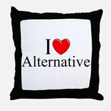 """I Love (Heart) Alternative"" Throw Pillow"